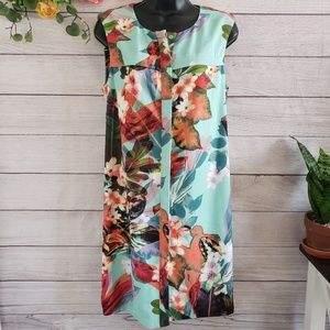 bebe | Tropical Button Down Sleveless Dress